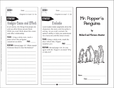 Mr. Popper's Penguins: Reading Response Trifold - Printable Worksheet