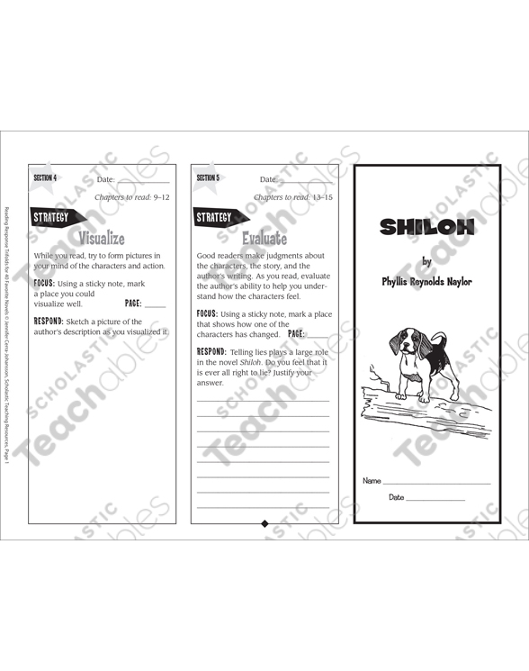 picture about Shiloh Worksheets Printable named Shiloh: Looking at Respond to Trifold Printable Bookmarks