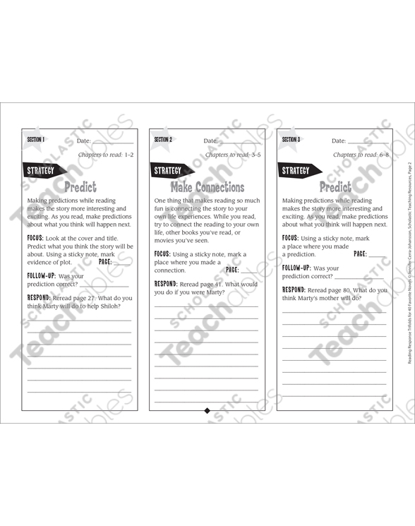 photo relating to Shiloh Worksheets Printable known as Shiloh: Looking through Remedy Trifold Printable Bookmarks