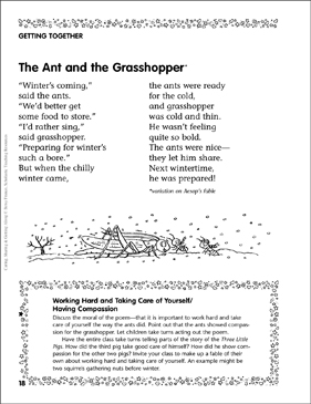 The Ant & the Grasshopper (Working Hard/Sharing) | Printable