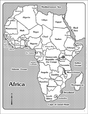 Maps Of Africa Labeled And Unlabeled Printable Maps And Skills