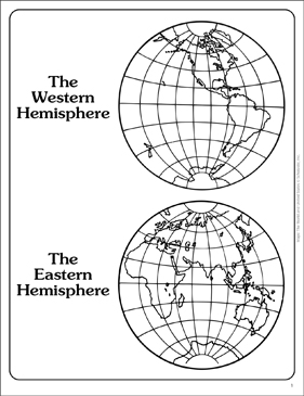 Western and Eastern Hemispheres (Outline Map) | Printable Maps and ...
