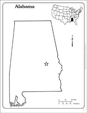Alabama State Outline Map Printable Maps And Skills Sheets