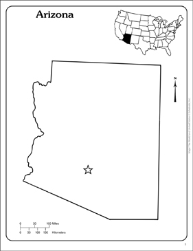 photo about Printable Arizona Map named Arizona: Country Determine Map Printable Maps and Abilities Sheets