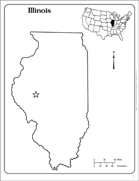 image relating to Printable Map of Illinois named Illinois: Country Determine Map Printable Maps and Abilities Sheets