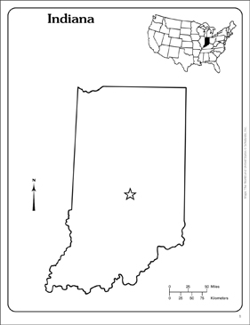 image relating to Printable Map of Indiana titled Indiana: Nation Define Map Printable Maps and Competencies Sheets