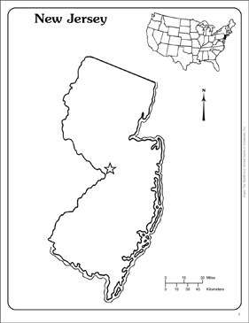 image about Printable Map of New Jersey known as Fresh Jersey: Region Define Map Printable Maps and Competencies Sheets