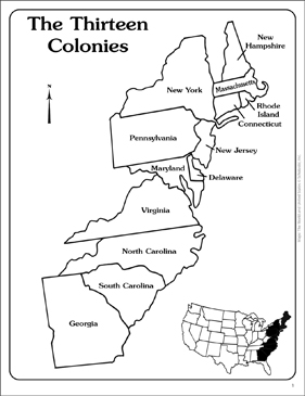 Maps of the Thirteen Colonies (Blank and Labeled ...