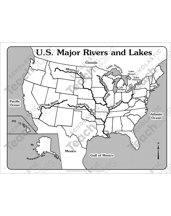 U.S. Major Rivers and Lakes (Outline Map) | Printable Maps ...