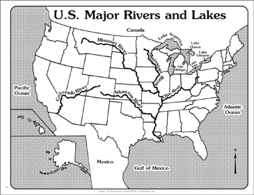 U S Major Rivers And Lakes Outline Map Printable Maps And