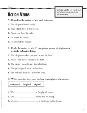 Action Verbs Grade 2 Collection Printable Leveled Learning