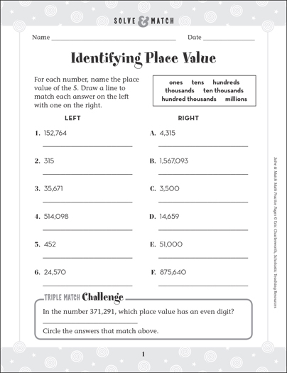 numeration identifying place value solve match math grades 2 3 practice page printable. Black Bedroom Furniture Sets. Home Design Ideas