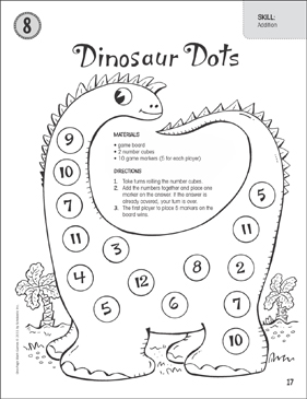 photo relating to Dots Game Printable called Dinosaur Dots (Addition): A single-Website page Math Match Printable