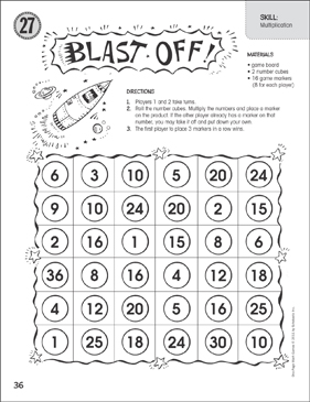 graphic about Multiplication Game Printable identify Blast Off (Multiplication): Just one-Webpage Math Sport Printable