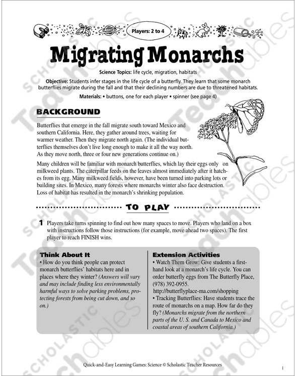 Migrating Monarchs Board Game Printable Games Puzzles Lesson