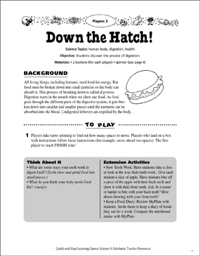 image relating to Digestive System Printable identified as Down the Hatch! Digestive Course of action Board Recreation Printable Video game