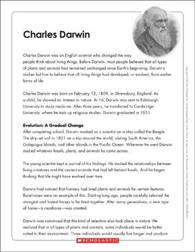 Charles Darwin Text Organizer Printable Graphic