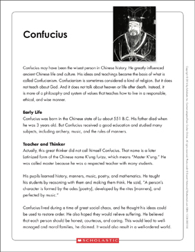 Confucius: Text & Organizer - Printable Worksheet