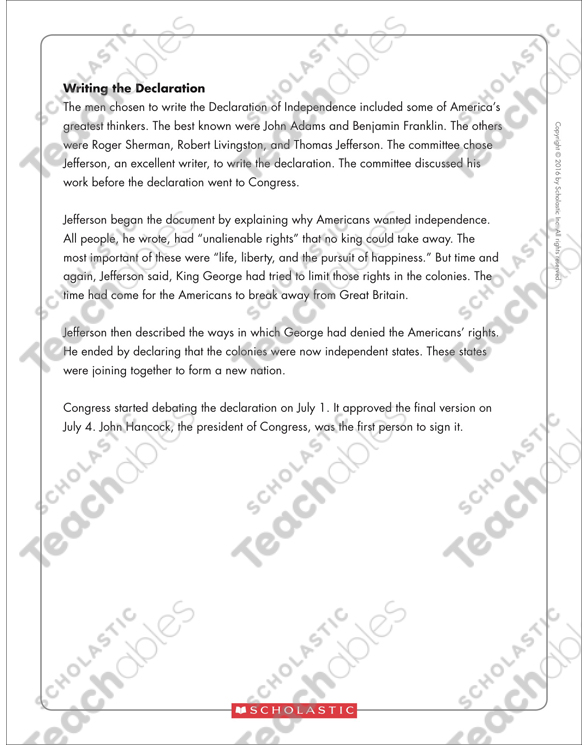photo about Printable Declaration of Independence Text known as The Declaration of Liberty: Words Organizer
