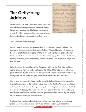 Influential image throughout gettysburg address printable