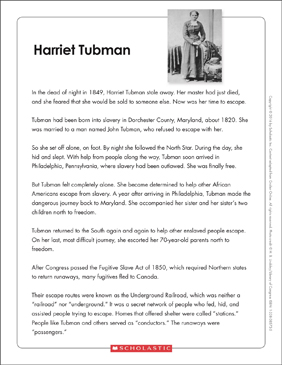 Harriet Tubman: Text & Organizer - Printable Worksheet