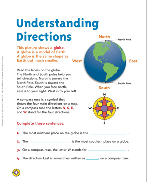 Understanding Directions: Map Skills | Printable Maps and ... on prime meridian east map, north south compass, north south land map, new middle east map, eastern north america map, south east river map, north america gray map,