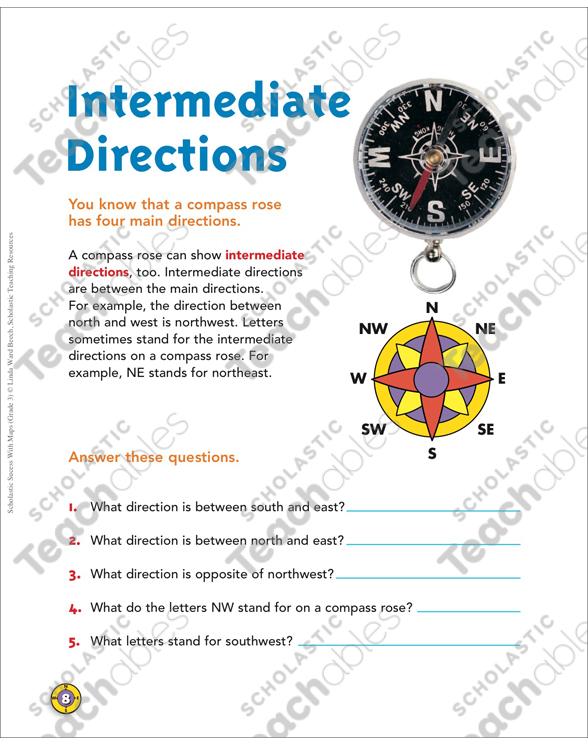 Intermediate Directions Map Skills Printable Maps And Skills Sheets