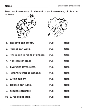 Identifying True Or False Statements Printable Skills Sheets
