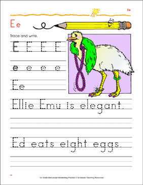 Tracing and Writing Uppercase E and Lowercase e - Printable Worksheet