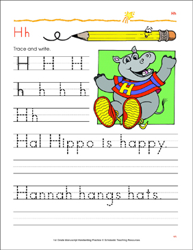 Trace and Write Uppercase H and Lowercase h - Printable Worksheet
