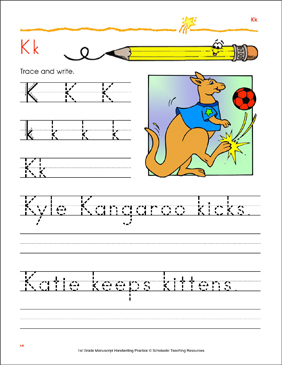 Tracing and Writing Uppercase K and Lowercase k - Printable Worksheet