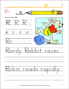 Write and Trace Uppercase R and Lowercase r - Printable Worksheet