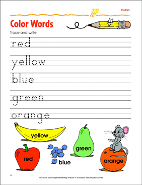 trace and write color words printable skills sheets. Black Bedroom Furniture Sets. Home Design Ideas
