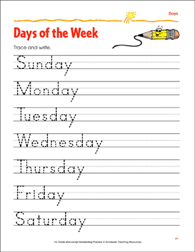 Trace & Write the Days of the Week | Printable Skills Sheets