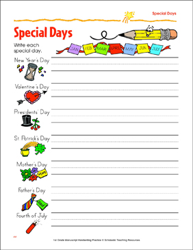 Special Days: Writing Practice - Printable Worksheet