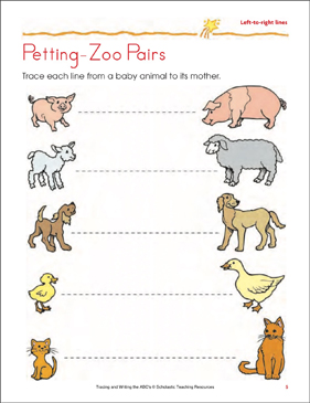 Petting-Zoo Pairs: Handwriting Practice (Left-to-Right lines) - Printable Worksheet
