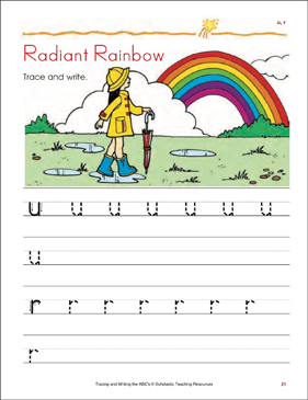 Radiant Rainbow Tracing And Writing Lowercase Letters U R Printable Skills Sheets