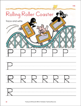 Rolling Roller Coaster: Tracing and Writing Uppercase Letters (P, R) - Printable Worksheet