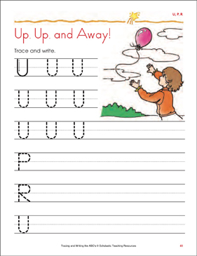 Up, Up, and Away!: Tracing and Writing Uppercase Letters (U, P, R) - Printable Worksheet