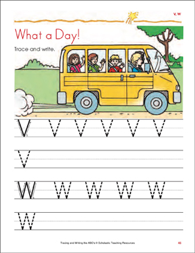 What a Day!: Tracing and Writing Uppercase Letters (V, W) - Printable Worksheet