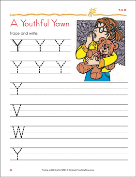 A Youthful Yawn : Tracing and Writing Uppercase Letters (Y, V, W) - Printable Worksheet