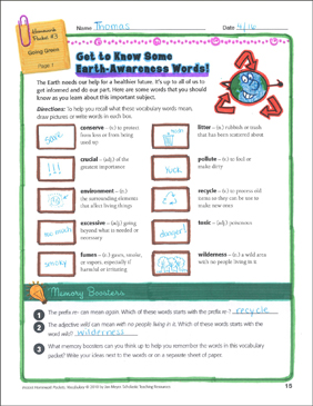 Going Green (Earth-Awareness Words): Vocabulary Packet - Printable Worksheet