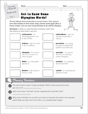Olympic Gold (Olympic Games Words): Vocabulary Packet - Printable Worksheet