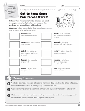 A Rain Forest Expedition (Rain Forest Words): Vocabulary Packet - Printable Worksheet