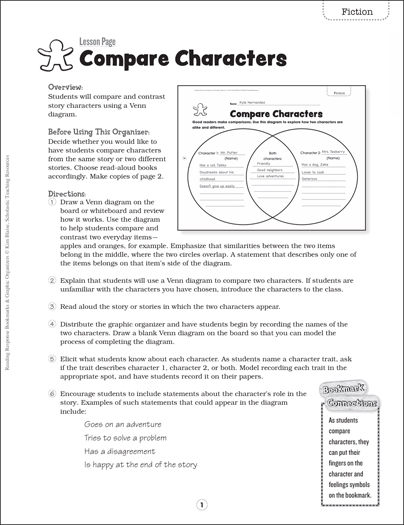 Compare Characters: Bookmark & Graphic Organizer - Printable Worksheet