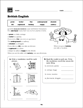 british english grade 5 vocabulary printable skills sheets. Black Bedroom Furniture Sets. Home Design Ideas