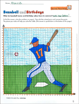 Baseball and Birthdays (Decimal Place Value) - Printable Worksheet