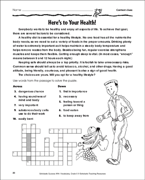 Here S To Your Health Context Clues Printable Crossword Puzzles Skills Sheets