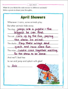 April Showers: April Poetry Frame | Printable Skills Sheets