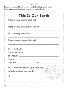 This Is Our Earth April Poetry Frame Printable Skills Sheets